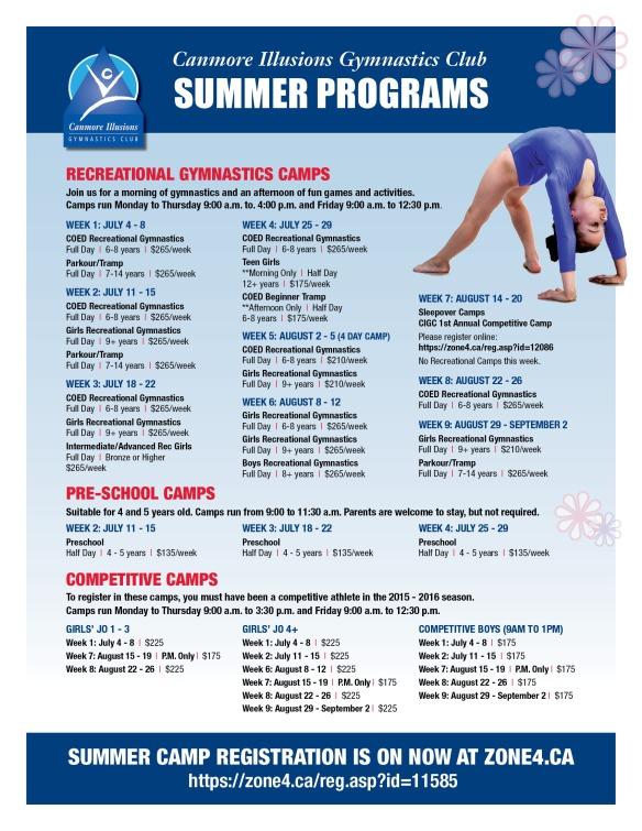 Gymnastics Summer 2016 Programs v4